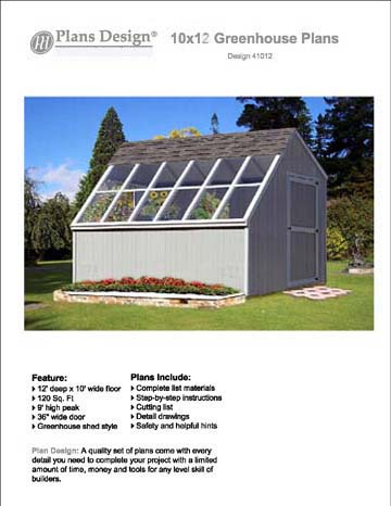 10' x 12' Greenhouse Nursery Garden Shed Plans, Material ...