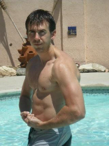 Paul Gale Network: Paul Gale flexing by the pool