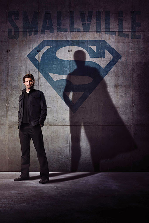 Tom Welling with silhouette cape on Smallville