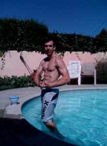Paul Gale Network: Paul Gale flexing by the pool again.  Motivation!