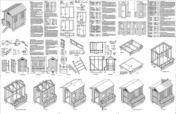 5039x6039 Gable Poultry Chicken House Coop Plans 90506G
