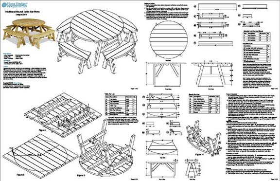 Details about Classic Round Picnic Table Set Plans / Pattern #ODF13