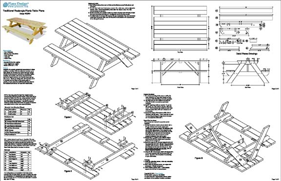 Picnic Table Traditional Rectangle Garden Style