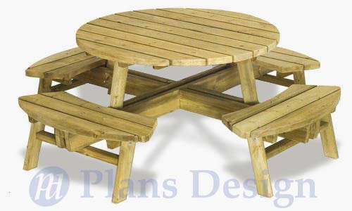 How To Build The Round Picnic Table, Design # OD04