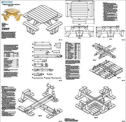 Free plans for a square picnic table