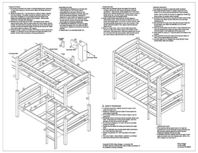 Twin Bunk BED Woodworking Plans Material List Drawings