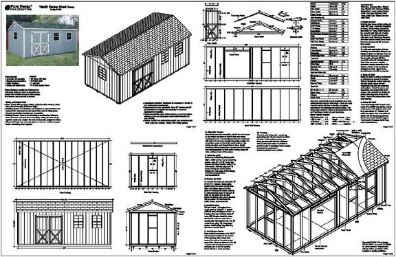 10'x20' Gable Storage Shed Plans Building Blueprints | eBay