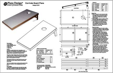 Build Your Own Cornhole Bag Toss Game Board Plans Ebay