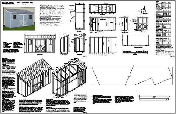Details about 4'x12' Slant / Lean To Style Shed Plans, See Samples