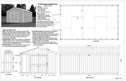 12x20 Gable Storage Shed Plans, Buy It Now Get It Fast! | eBay