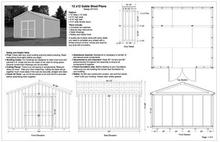 Garden Sheds 12 X 12 12 x 12 feet gable storage shed plans, buy it now get it fast! | ebay
