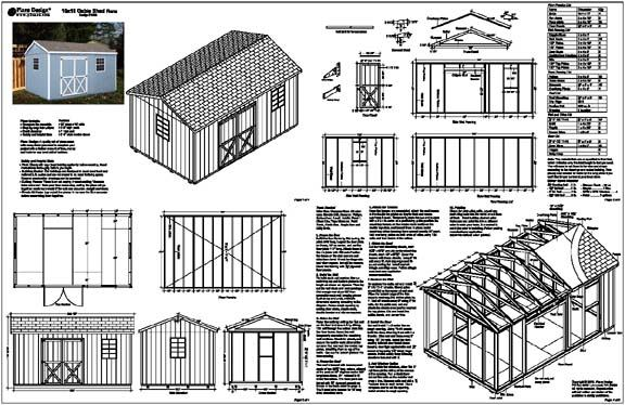 Details about 10'x16' Gable Storage Shed Plans / Building Blueprints