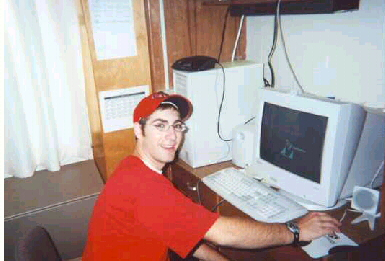 Drew at computer in fall 2000 at IU