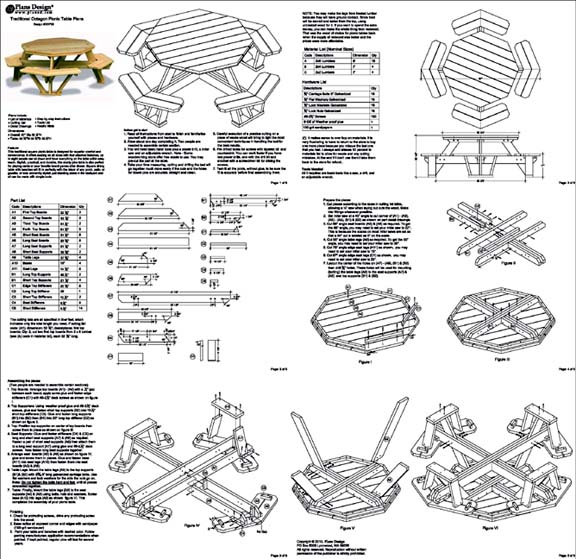 traditional octagon picnic table woodworking plans    pattern  odf05