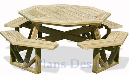 table feature plans are for a classic octagon picnic table is designed ...