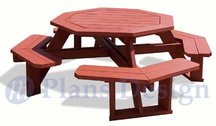table feature plans are for a classic octagon picnic table designed ...
