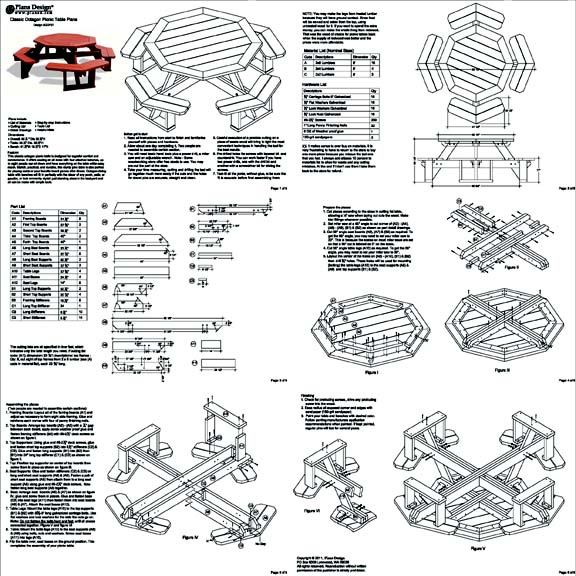 Classic Octagon Picnic Table Woodworking Plans / Blueprints #ODF08 ...