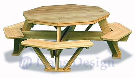 table feature plans are for a traditional octagon picnic table ...