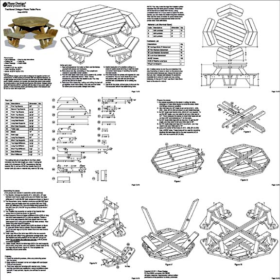 Traditional Octagon Picnic Table Woodworking Plans / Pattern #ODF06 ...