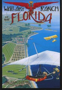 A drawing of a hang glider flying over the green shoreline with a yellow plane in the background. The painting is titled Wallaby Ranch Florida.